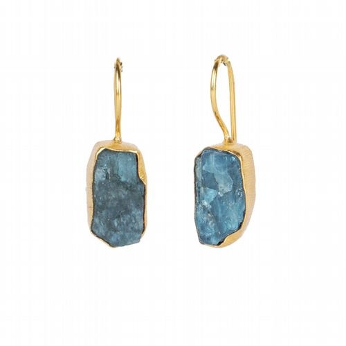 Raw Stone Drop Earrings - Neon Apatite